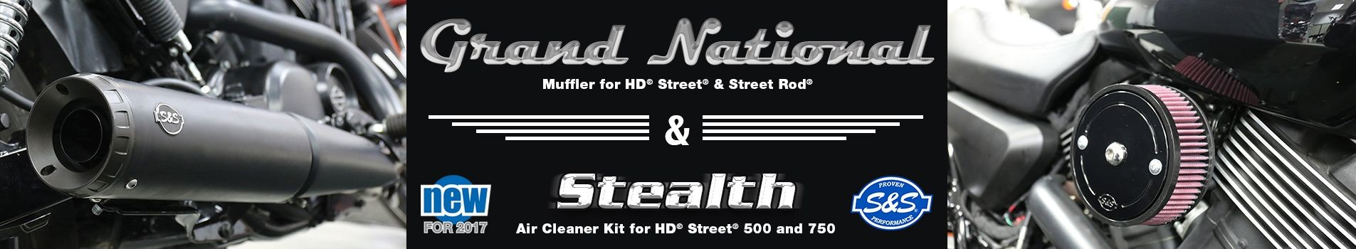 Grand National Mufflers and Stealth Air Cleaner for HD® Street® and Street Rod™