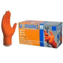 ORANGE NITRILE GLOVES LARGE (BX/100)
