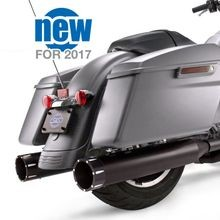 "Mk45 Black Contrast Tracer End Cap - Jet-Hot<sup>®</sup> Black Body Finish - 4.5"" Slip-On Muffler for 2017 Touring Models"