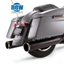 "Mk45 Black Contrast Thruster End Cap - Jet-Hot<sup>®</sup> Black Body Finish - 4.5"" Slip-On Muffler for 2017 Touring Models"