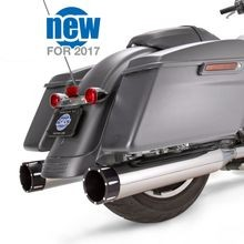 "Mk45 Black Contrast Tracer End Cap - Chrome Body Finish - 4.5"" Slip-On Muffler for 2017 Touring Models"