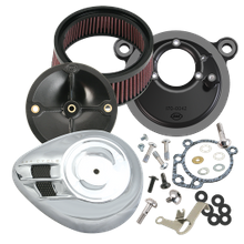 S&S<sup>®</sup> Stealth Air Cleaner Kit With Air Stream Teardrop Cover For 1999-'06 HD<sup>®</sup> Big Twin Models With S&S<sup>®</sup> Super E or G Carburetor - Chrome Finish