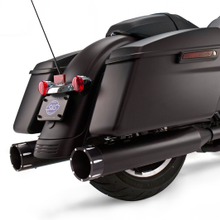 "Mk45 Black Contrast Tracer End Cap - Jet-Hot<sup>®</sup> Black Body Finish - 4.5"" Slip-On Muffler for 1995-'16 Touring Models"