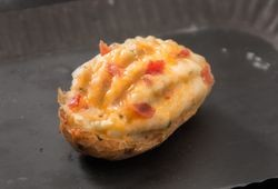 Loaded Twice Baked Potato with Bacon, Sour Cream & Cheddar Cheese