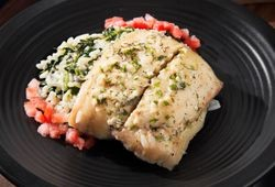 Flounder with Rice & Spinach in Herb Butter Sauce