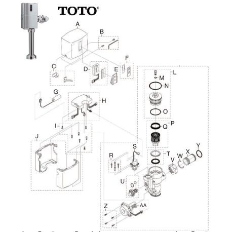Flushometers Parts Toto Tet1ln Cp Series Eco Sensor High Efficiency Toilet Flush Valve Exposed 28 Gpf Hydro Charge Best