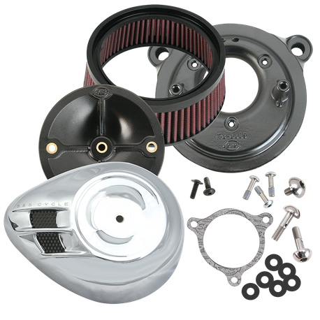 S&S<sup>®</sup> Stealth Air Cleaner Kit With Air Stream Teardrop Cover for 2008-'17 HD<sup>®</sup> Twin Cam<sup>®</sup>, 103<sup>™</sup>, 110<sup>™</sup> Tri-Glide and CVO<sup>®</sup> Stock-Bore Throttle By Wire Models - Chrome
