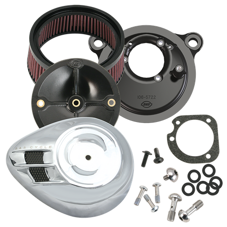 S&S<sup>®</sup> Stealth Air Cleaner Kit With Air Stream Teardrop Cover For 1993-'99 HD<sup>®</sup> Big Twin models - Chrome Finish