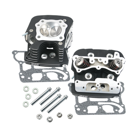 "S&S<sup>®</sup> Super Stock<sup>®</sup> 91cc Cylinder Heads For For S&S<sup>®</sup> T124 T2 Long Block Engines and 2006 HD<sup>®</sup> Dyna<sup>®</sup> Models and All 2007-'16 Models With S&S<sup>®</sup> 124"" Hot Set Up Kit - Wrinkle Black Powder Coat Fin"