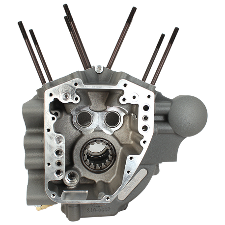 "Super Stock<sup>®</sup> T2 Crankcases for 2007-'16 HD<sup>®</sup> FL Big Twin Engines with 4-1/8"" Bore, Stock Bolt Pattern - Stone Grey"