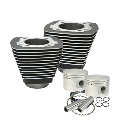 "3-1/2"" Bore Cylinder & Piston Kit For 1984-'99 Big Twins With Stock Or S&S Performance Replacment Cylinder Heads - Wrinkle Black Finish"