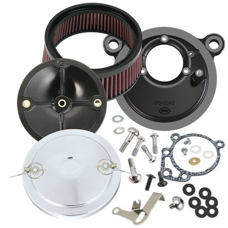 S&S<sup>®</sup> Stealth Air Cleaner Kit With Muscle Cover For 1999-'06 HD<sup>®</sup> Big Twin Models With S&S<sup>®</sup> Super E or G Carburetor - Chrome Finish