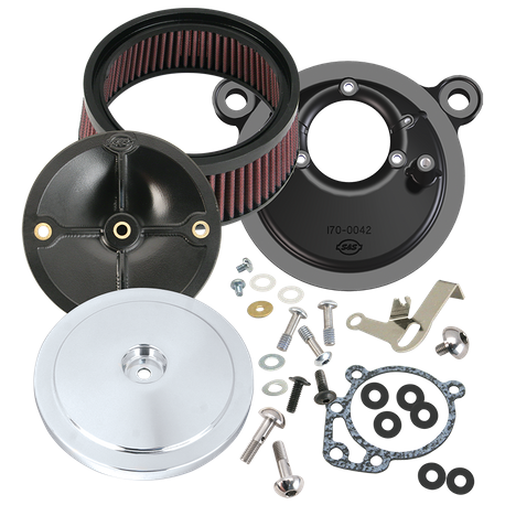 S&S<sup>®</sup> Stealth Air Cleaner Kit With Domed Bobber Cover For 1999-'06 HD<sup>®</sup> Big Twin Models With S&S<sup>®</sup> Super E or G Carburetor - Chrome Finish