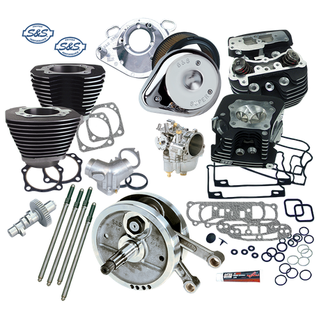 "Complete 96"" 3-5/8"" Big Bore/Stroker Hot Set Up Kit With S&S Cylinder Heads For 1993-'99 Big Twins- Wrinkle Black Finish"