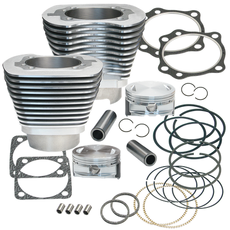 "4-1/8"" Bore Cylinder Kit For Early Production S&S T117 Engines For 1999-'06 Big Twins - Silver Powde Coat Finish"