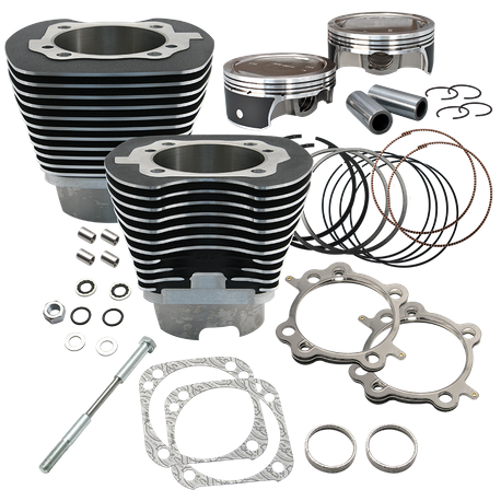 "124"" Low Compression 4-1/8"" Big Bore Kit for 2007-'16 Big Twins - Wrinkle Black FInish"