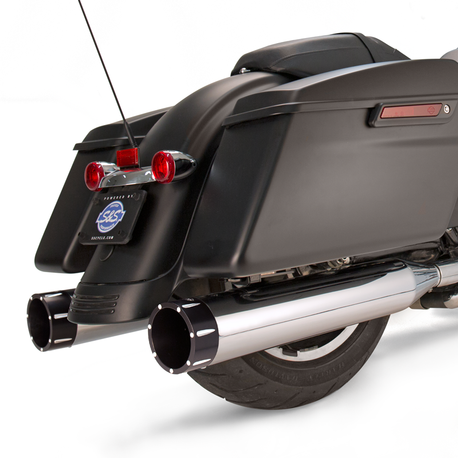 "Mk45 Black Contrast Tracer End Cap - Chrome Body Finish - 4.5"" Slip-On Muffler for 1995-'16 Touring Models"