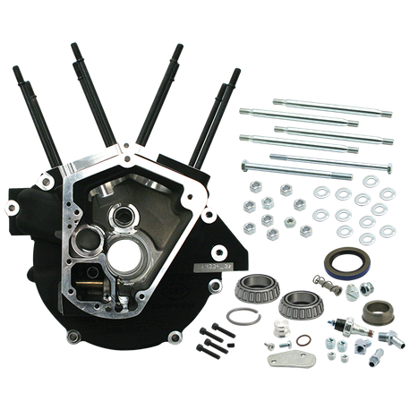 "Super Stock<sup>®</sup> Alternator Style Crankcase for 1992-'99 Big Twins with 3-5/8"" Bore - Wrinkle Black"