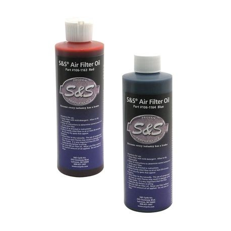 S&S<sup>®</sup> Air Filter Oil 8 Oz - Red or Blue