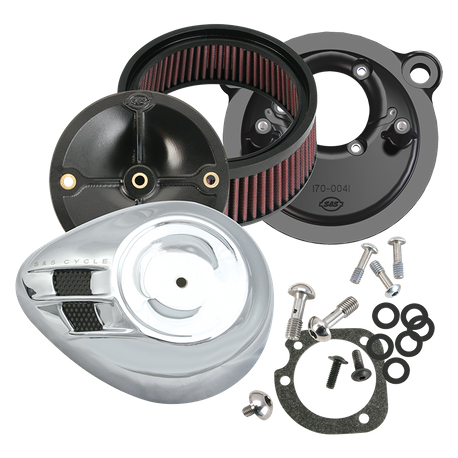 S&S<sup>®</sup> Stealth Air Cleaner Kit With Air Stream Teardrop Cover For for 1991-'06 HD<sup>®</sup> Carbureted XL Sportster<sup>®</sup> Models - Chrome