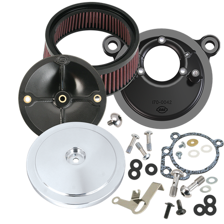 S&S<sup>®</sup> Stealth Air Cleaner Kit With Domed Bobber Cover For 1991-'03 HD<sup>®</sup> Big Twin Models With S&S<sup>®</sup> Super E or G Carburetor - Chrome Finish