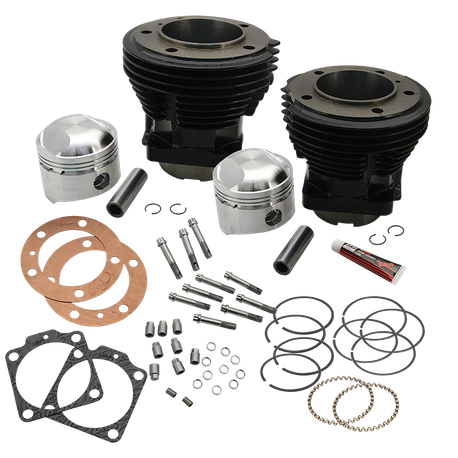 "74"" 3-7/16"" Bore Cylinder and High Compression Piston Kit for 1966-'78 74"" HD<sup>®</sup> Big Twins - Gloss Black Finish"