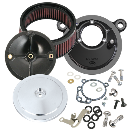 S&S<sup>®</sup> Stealth Air Cleaner Kit With Domed Bobber Cover For 1993-'99 HD<sup>®</sup> Big Twin Models With S&S<sup>®</sup> Super E or G Carburetor - Chrome Finish