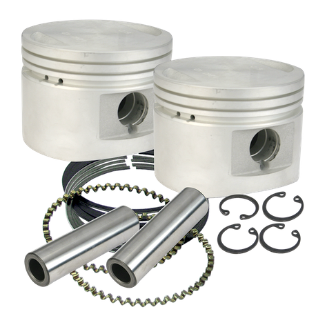 "S&S<sup>®</sup> 80"" Cast Flat-Topped Replacement Piston Kits For 1984-'99 HD<sup>®</sup> Big Twins W/ Stock Heads or S&S Performance Replacement Heads - +.010"""