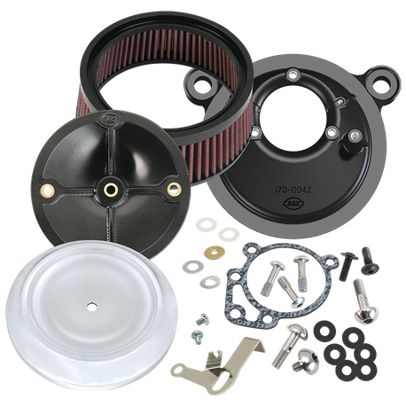 S&S<sup>®</sup> Stealth Air Cleaner Kit With Dished Bobber Cover For 1999-'06 HD<sup>®</sup> Big Twin Models With S&S<sup>®</sup> Super E or G Carburetor - Chrome Finish