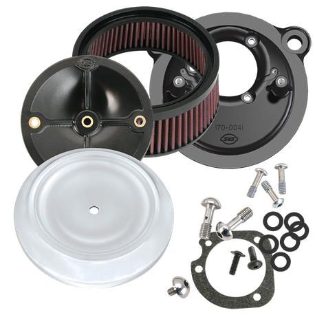 S&S<sup>®</sup> Stealth Air Cleaner Kit With S&S<sup>®</sup> Chrome Dished Bobber Air Cleaner Cover for 1991-'06 HD<sup>®</sup> Carbureted XL Sportster<sup>®</sup> Models