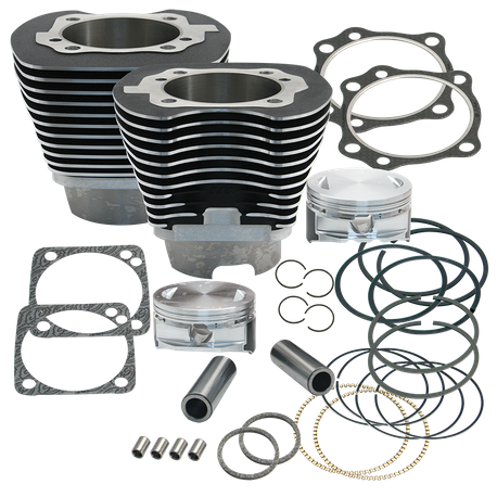 "4 1/8"" Bore Cylinder & Piston Kit For Early Production T111 Engines For 1999-2006 Big Twins - Wrinkle Black Powder Coat FInish"