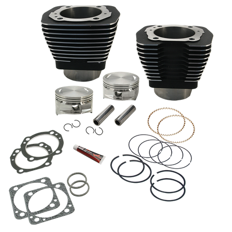 "107"" 4"" Bore Cylinder and Piston Kit For S&S V107 Engines For 1984-'99 Big Twins - Wrinkle Black"