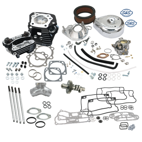 "80FLSS 80"" Hot Set Up Kit<sup>®</sup> With Super Stock<sup>®</sup> Heads For 1993-'99 Carbureted Big Twins - Wrinkle Black Finish"