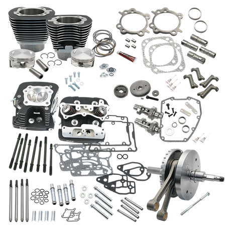 "124"" Hot Set Up Kit<sup>®</sup> With S&S Cylinder Heads For all 2007-'17 Balanced Big Twins - Wrinkle Black"