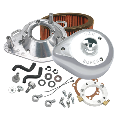 S&S<sup>®</sup> Teardrop Air Cleaner Kit for 2001-'16 HD<sup>®</sup> Stock EFI Big Twin (except Throttle By Wire and CVO<sup>®</sup>) Models - Chrome