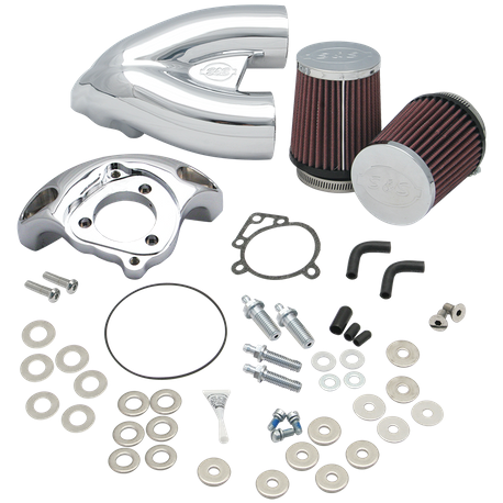 S&S<sup>®</sup> Single Bore Tuned Induction System for 1984-'06 HD<sup>®</sup> Carbureted Big Twins and 2007-'10 Softail<sup>®</sup> CVO<sup>®</sup> Models - Chrome