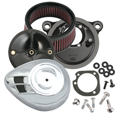S&S<sup>®</sup> Stealth Air Cleaner Kit With Air Stream Teardrop Cover For for 1999-'06 HD<sup>®</sup> Carbureted Big Twins and 2007-'10 Softail<sup>®</sup> CVO<sup>®</sup> Models - Chrome