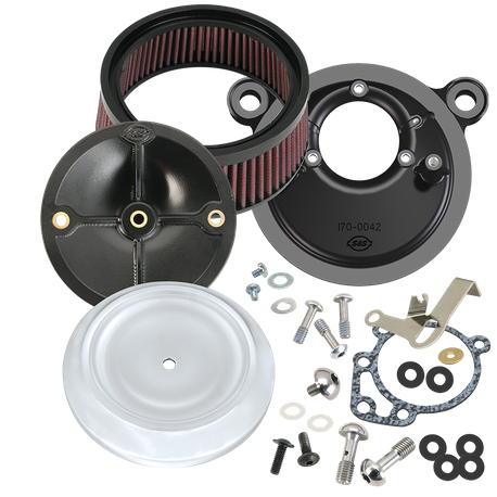 S&S<sup>®</sup> Stealth Air Cleaner Kit With Dished Bobber Cover For 1991-'03 HD<sup>®</sup> Big Twin Models With S&S<sup>®</sup> Super E or G Carburetor - Chrome Finish