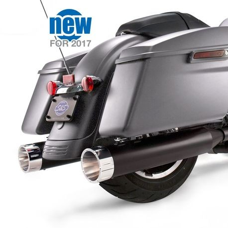"Mk45 Chrome Tracer End Cap - Jet-Hot<sup>®</sup> Black Body Finish - 4.5"" Slip-On Muffler for 2017 Touring Models"