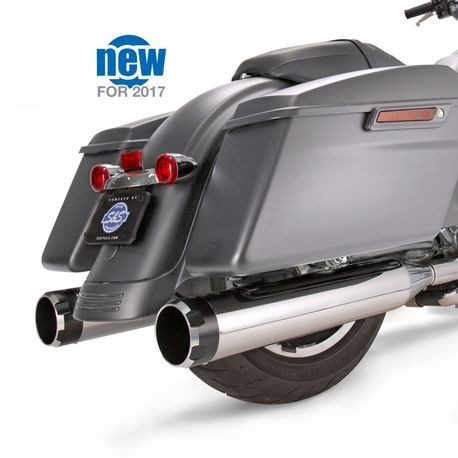 "Mk45 Chrome Thruster with Black Contrast End Cap - Chrome Body Finish - 4.5"" Slip-On Muffler for 2017 Touring Models"