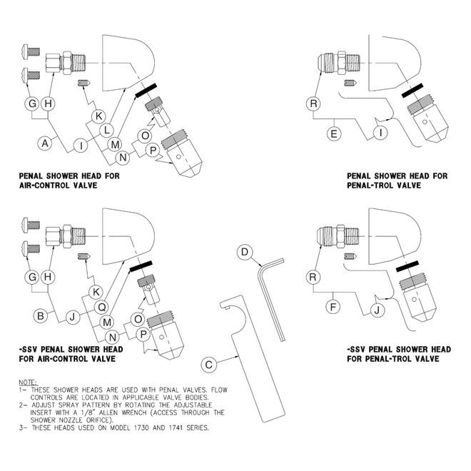 penal-ware standard showerhead & space saver drawing 9970-000-003