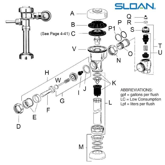 sloan regal flushometer parts