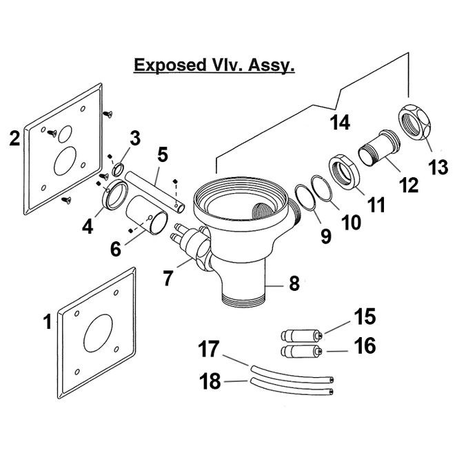 hydroflush exposed piston assembly