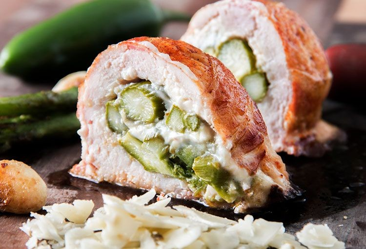 Bacon Wrapped Asparagus & Pepper Jack Stuffed Chicken Breast