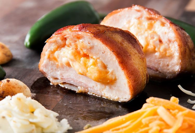 Bacon Wrapped Three Cheese Stuffed Chicken Breast